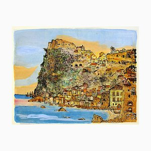 Scilla, Landscape - Country and Coast - Etching and Watercolor by G. Omiccioli 1970 ca.