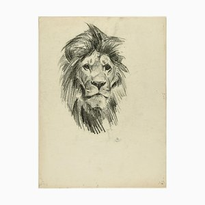 Head of Lion and Tiger - Original Pencil Drawing by Willy Lorenz - 1950s 1950s
