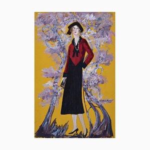 Madame in the Blossom Garden - Original Tempera auf Papier von Lucie Navier - 1931 1931