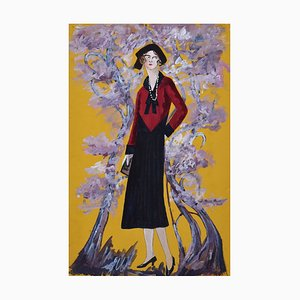 Madame in the Blossom Garden - Original Tempera on Paper by Lucie Navier - 1931 1931