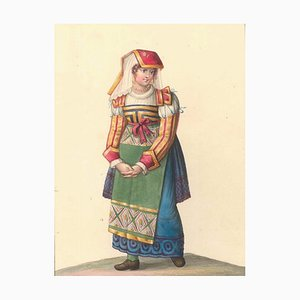 Costume di Costume di Gioja - Watercolor by M. De Vito - 1820 ca. 1820 c.a.