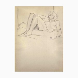 Lying Nude Figure - 1910s - Ernest Rouart - Drawing - Modern