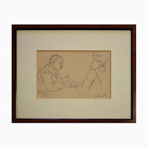 Two Men Around a Table - 1940s - Paul-Franz Namur - Drawing - Modern