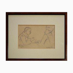 Zwei Männer um einen Tisch - 1940er - Paul-Franz Namur - Drawing - Modern