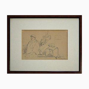 Man With Beret And Lying Man - 1940s - Paul-Franz Namur - Drawing - Modern
