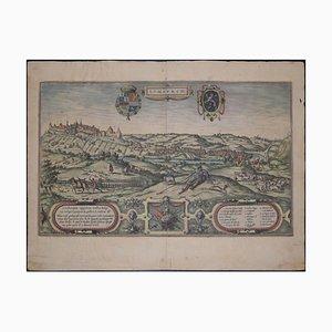Mapa de Limbourg, antiguo de Civitates Orbis Terrarum 1572-1617