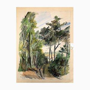 Natural Landscape - 1940s - Jacqueline Barbet - Watercolour 1947