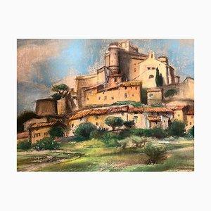 Landschaft mit Dorf - 1950er - Charlotte Jamois - Tempera - Modern