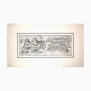 Grande Carte Antique de '' Civitates Orbis Terrarum '' de Corfou - 1572-1617 1572-1617