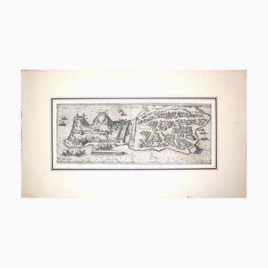 Mappa di una grande mappa antica di '' Civitates Orbis Terrarum '' - 1572-1617 1572-1617