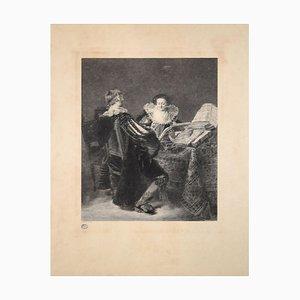 La Leçon de Musique - Original Etching By Georges Henri Manesse - 1892 1892