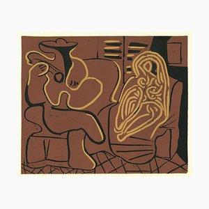 Femme dans un fauteille et Guitariste- Original Linocut After Pablo Picasso - 1962 1962