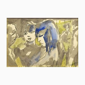 Girls - Charcoal and Watercolor by M. Maccari -1960s 1960s