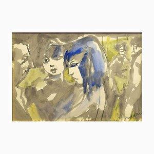 Mädchen - Anthrazitfarben und Aquarell von M. Maccari -1960er 1960er