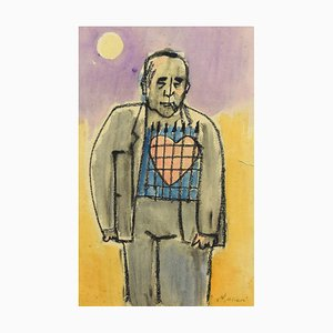 Self-Portrait with Big Heart - Charcoal and Watercolor by M. Maccari -1960s 1960s