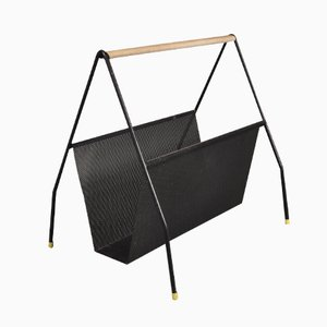 Black Perforated Metal Magazine Rack, 1950s