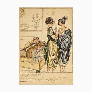 Bourgeoasie - Original Tuschezeichnung und Aquarell von L. Bompard - 1905 ca. Ca. 1905
