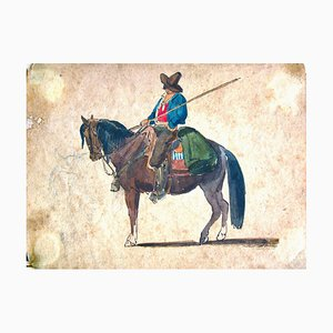 A Cowboy on the Horse - Original Ink and Watercolor by C. Coleman - Late 1800 Late 19th Century