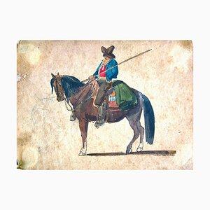 A Cowboy on the Horse - Original Tinte und Aquarell von C. Coleman - Spätes 1800. Spätes 19. Jh