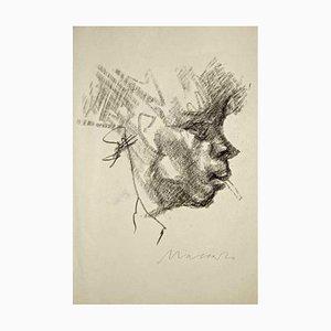 The Smoker (Portrait de Ottone Rosai) - Dessin au Fusain par M. Maccari - 1940/50 1940/50