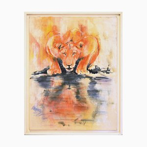 Lioness by the Water - Original Oil on Canvas by Marij Hendrickx - Early 2000s Early 2000s
