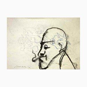Anges et Démons (Portrait de Giorgio Morandi) - Charbon et Encre par M. Maccari, 1950s