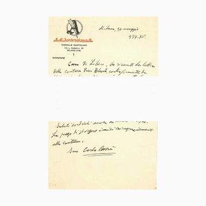 '' The New York Exihibition '' - Brief von C. Carrà an L. de Libero - 1937 um 1920