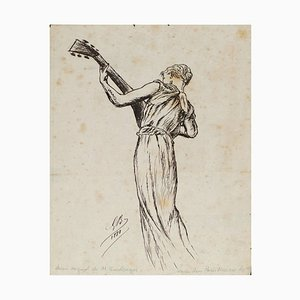 Playing Woman - Original China Ink Drawing by G.R.C. Boulanger - 1881 1881