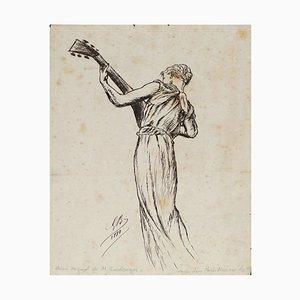 Playing Woman - Original China Tuschezeichnung von GRC Boulanger - 1881 1881