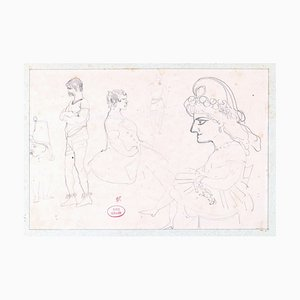 Dessin de Caricatures - Original Bleistiftzeichnung auf Papier von E. Giraud - La 1800 Late 19. Jh