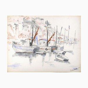 Les Bateaux - Original Charcoal Drawing by G. Halff - 1959 1959