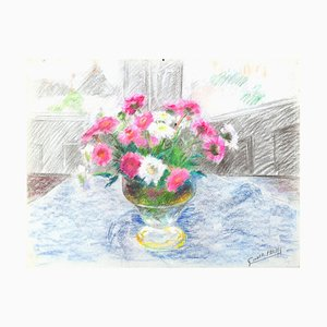 Fleurs dans un Vase- Original Oil Pastel Drawing by G. Halff - Late 20th Century Late 20th Century