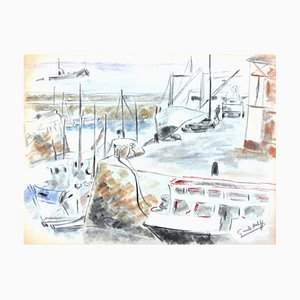 Les Bateaux au Port - Original Charcoal Drawing by G. Halff - Late 20th Century Late 20th Century