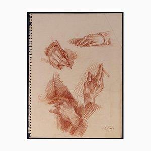 La main de mon père - Sanguine on Paper by E. Diverly - 1935 1970s