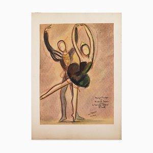 Le Lac des Cygnes - Original Oil Pastel Drawing by J. Target - 1949 1949