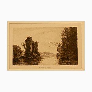 Bords de l'Oise, Frankreich - Original Radierung von Maillard After Daubigny - 1860 1860 ca.