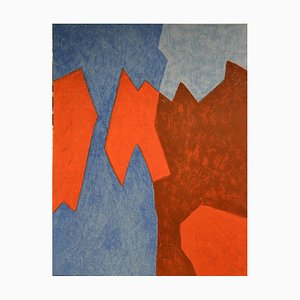 Blue And Red Composition - Original Lithograph by Serge Poliakoff - 1968 1968