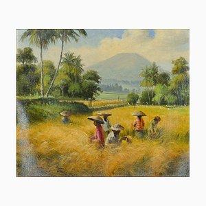 Indonesian Landscape - Original Oil on Canvas Bali School - Mid 20th Century Mid 20th Century