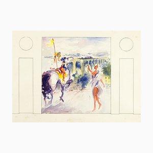 Knight and Girl - Original Watercolor by Vito Alghisi 1999