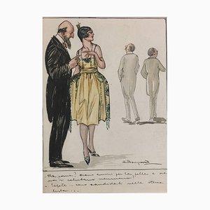 Friends for life - Aquarell und Tinte Zeichnung von L. Bompard - Früh 1900 Früh 1900