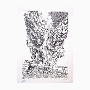 Surrealist Nude - Original b/w Etching - 1977 1977