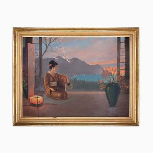 Japanese Sunset with Geisha - Oil Painting by an Unknown Painter of 20th Century 20th century