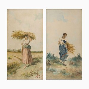 Farmers with Bundle of Spikes - Pair of Watercolors on Paper - 1892 1892