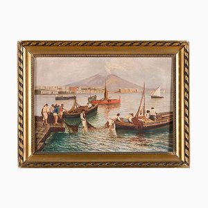 Fishermen on the Seashore - Oil on Canvas by Neapolitan Master Early 1900 Early 20th Century