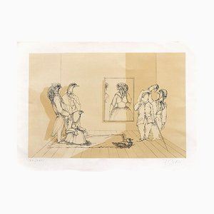 Museum - Original Lithograph by Fabrizio Clerici Mi 20th Century
