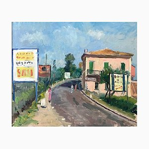 Paysage de Ville - Huile sur Toile par Giovanni Malagodi - Milieu 20ème Siècle 20ème Siècle