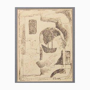 Studie für das Gemälde '' Paesaggio Marino '' - Tuschezeichnung von Renato Paresce 1930