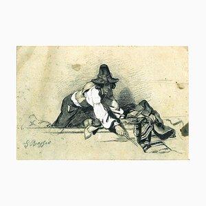 Il Buttero (The Cowboy) - Ink and White Lead by Giuseppe Raggio - 1920 ca. 1910 ca.