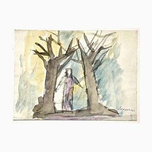 Forest in Color - Charcoal and Watercolor by M. Maccari - 1950/60s 1950/60s