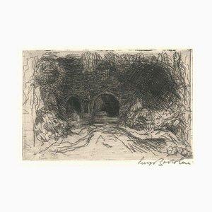 Fonte Canapina - Original Etching by Luigi Bartolini - 1940 1940